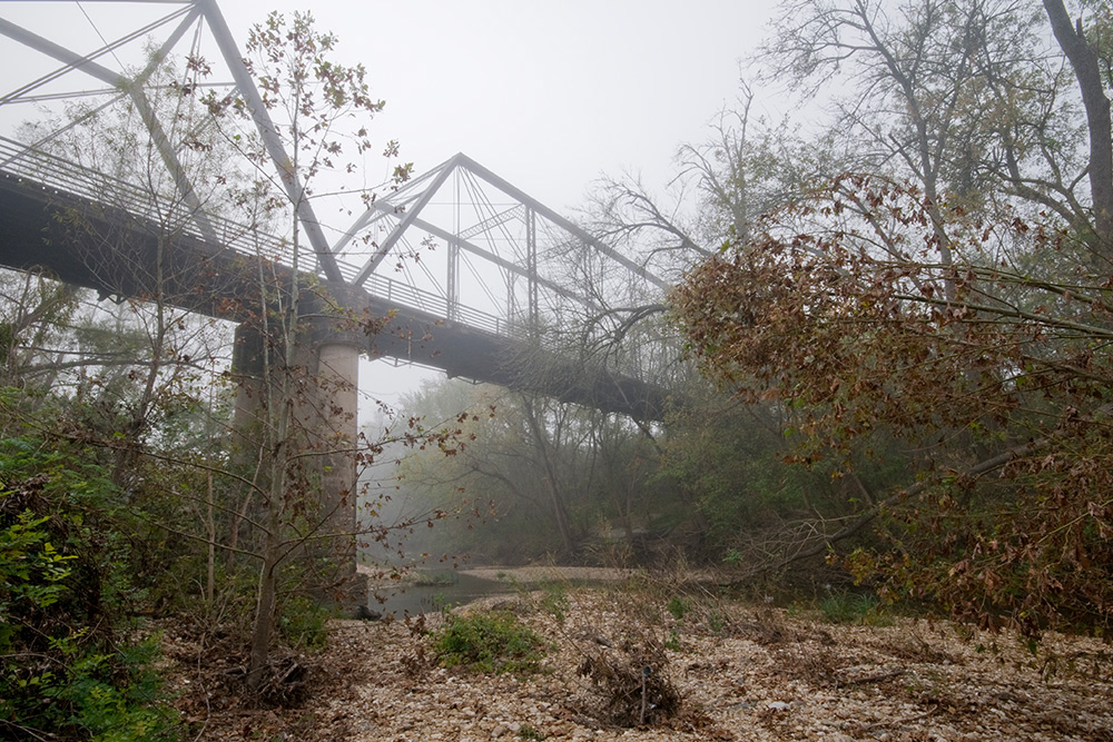 foggy scenary with bridge by rusty ray