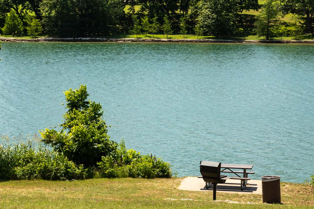 grill and picnic table near lake by tom hausler